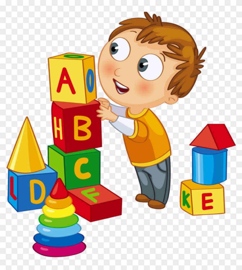 Kids Playing Clipart Clip Art Kid Playing Blocks Clock - Kids ...