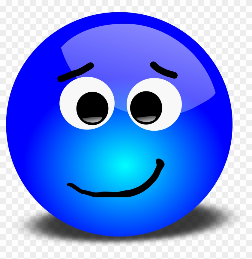 Vector Graphic Of A Blue 3d Smiley Portraying A Bothered - Smiley Face Clip Art #19906