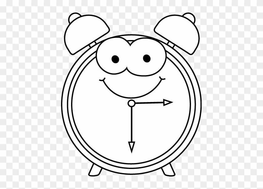 Cartoon Alarm Clock Clip Art Black And White Cartoon - Clock Cartoon Black And White #19944