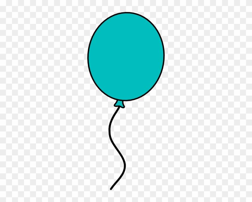 Teal Balloon Dark Outline Clip Art - Single Balloon Clipart Png #20057
