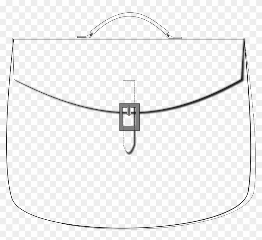 Outline Brief Case Clipart, Vector Clip Art Online, - Kabelka Omaľovanka #20086