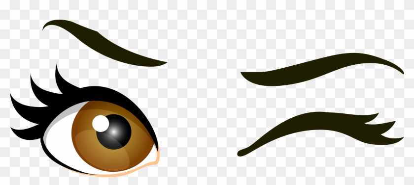 Brown Winking Eyes Png Clip Art - Winking Clipart #20239