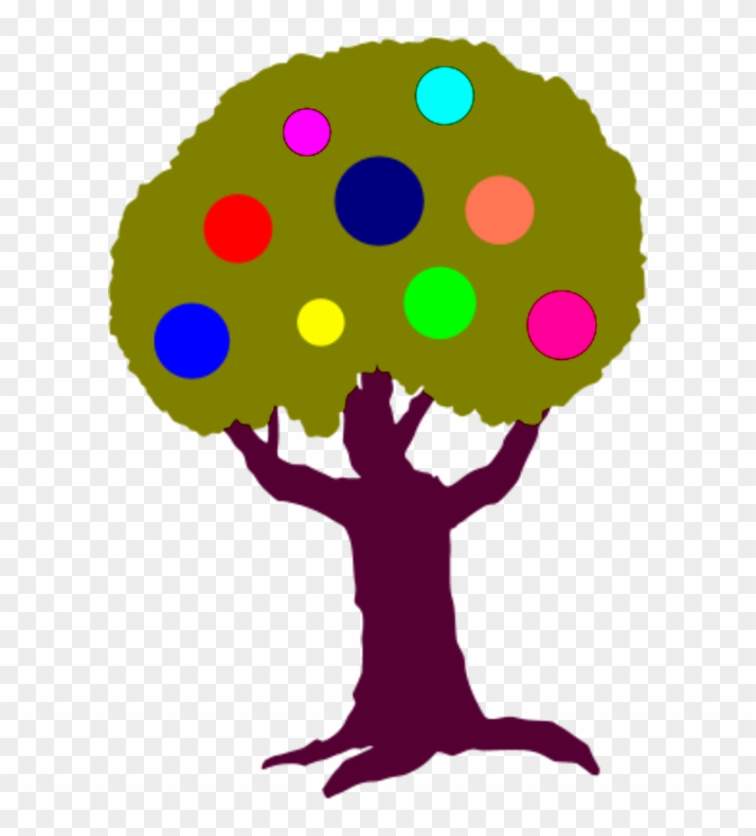 Tree With Colorful Circles Fruit - Clip Art #20236