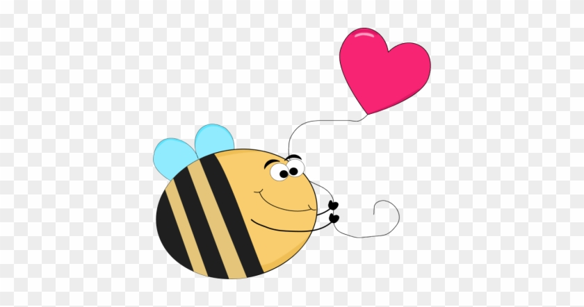 Funny Bee With A Heart Shaped Balloon - Funny Picture Of A Heart #20276