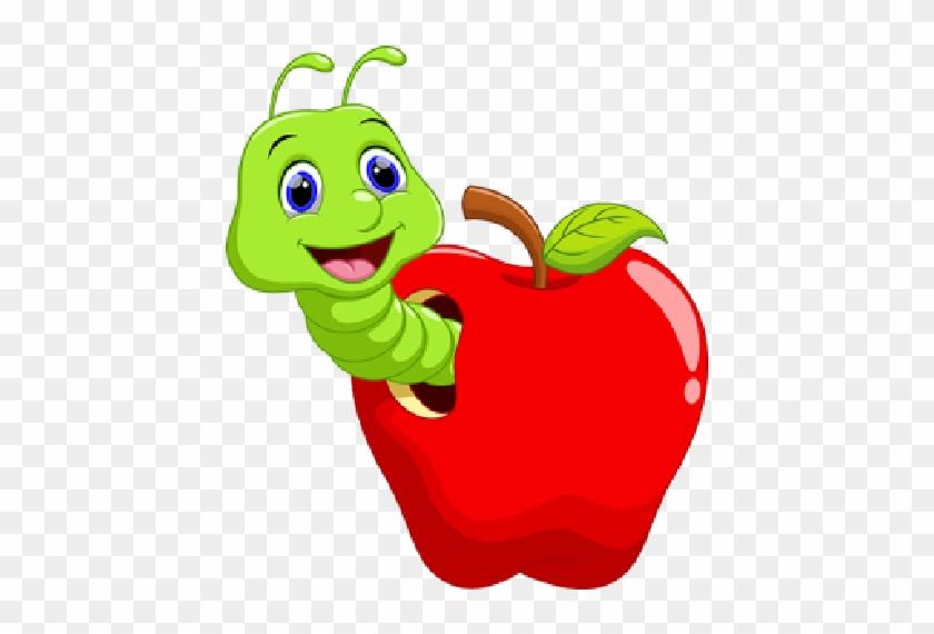 Grappige Cartoon Worm In De Appel Royalty Vrije Cliparts, - Caterpillar In Apple #20339