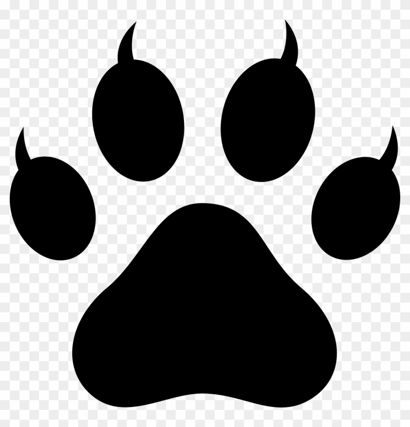 Clipart Of Cat Paw Prints Pawprint With Claws Free - Cat Paw Print #20407