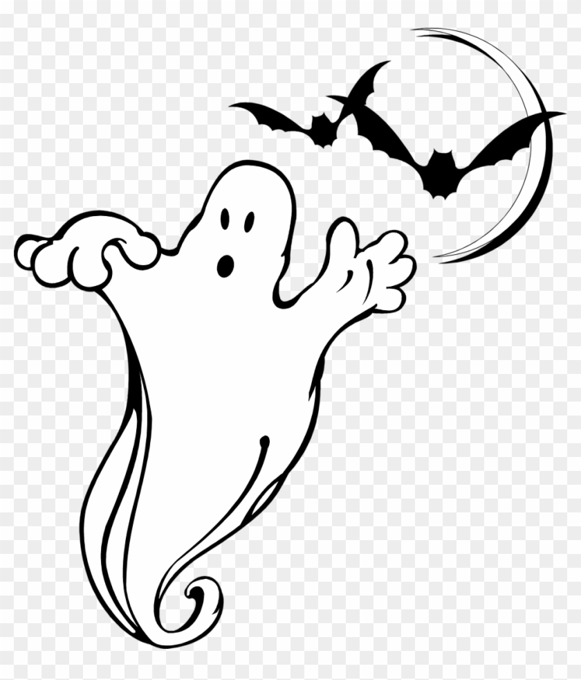 Ghost Free Stock Photo Illustration Of A Ghost And - Bats And Ghosts Clipart #20529