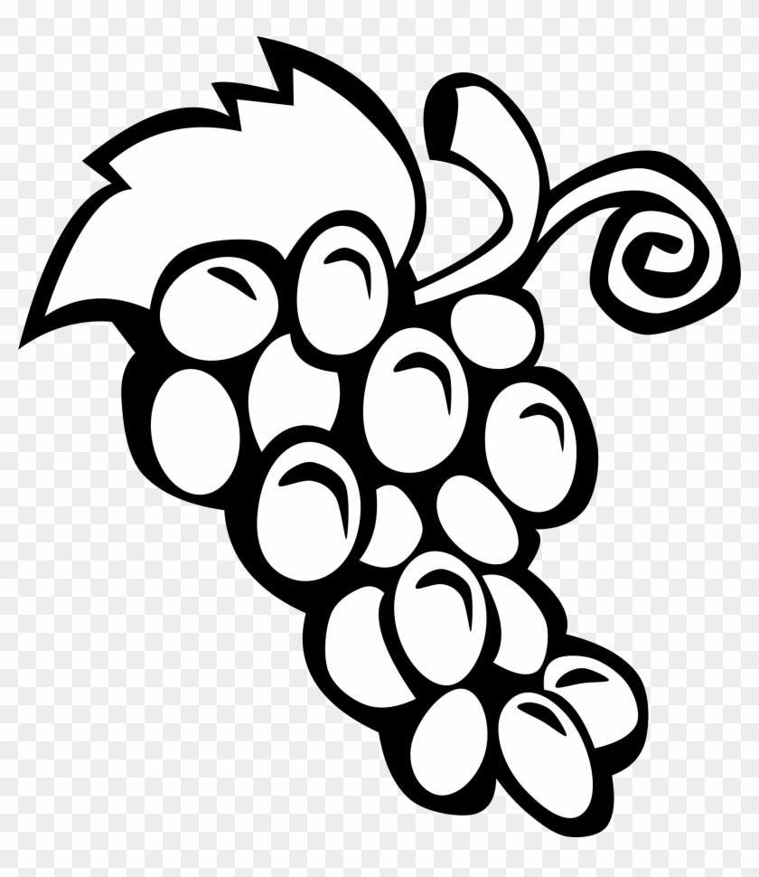 Fruit - Clipart - Black - And - White - Grapes Clipart Black And White #20603