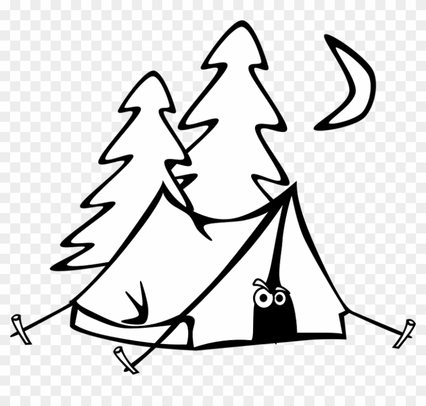 Camping Tent Eyes Trees Moon Night Cartoon - Camping Clipart Black And White #20619