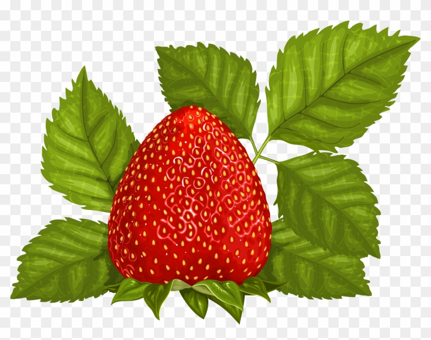 Strawberry With Leaves Png Clipart - Strawberry Leaves Png #20627
