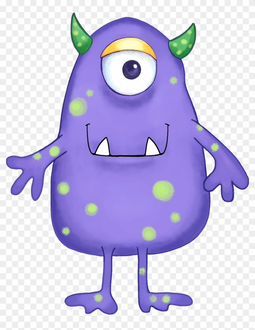 Cute Alien Clipart Kid - Green And Purple Monster #20745