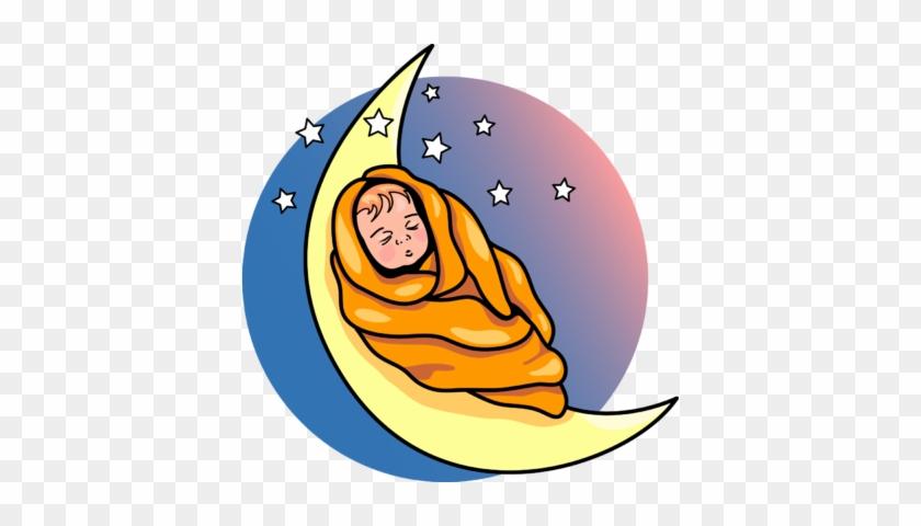 Baby On The Moon Clip Art - Baby Sleeping On Moon Clip Art #20866