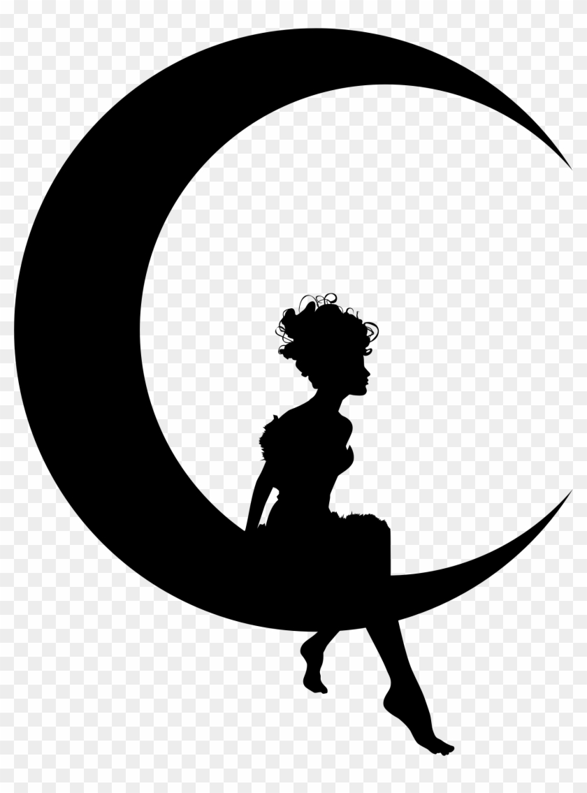 Clipart - Girl Sitting On Crescent Moon #20892
