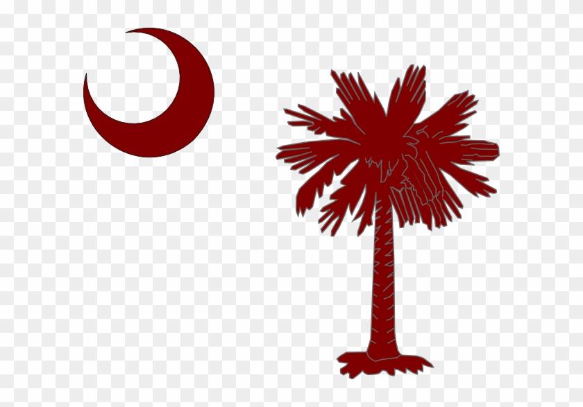 Garnet Palmetto Tree & Moon Clip Art - Flag Of South Carolina #20917