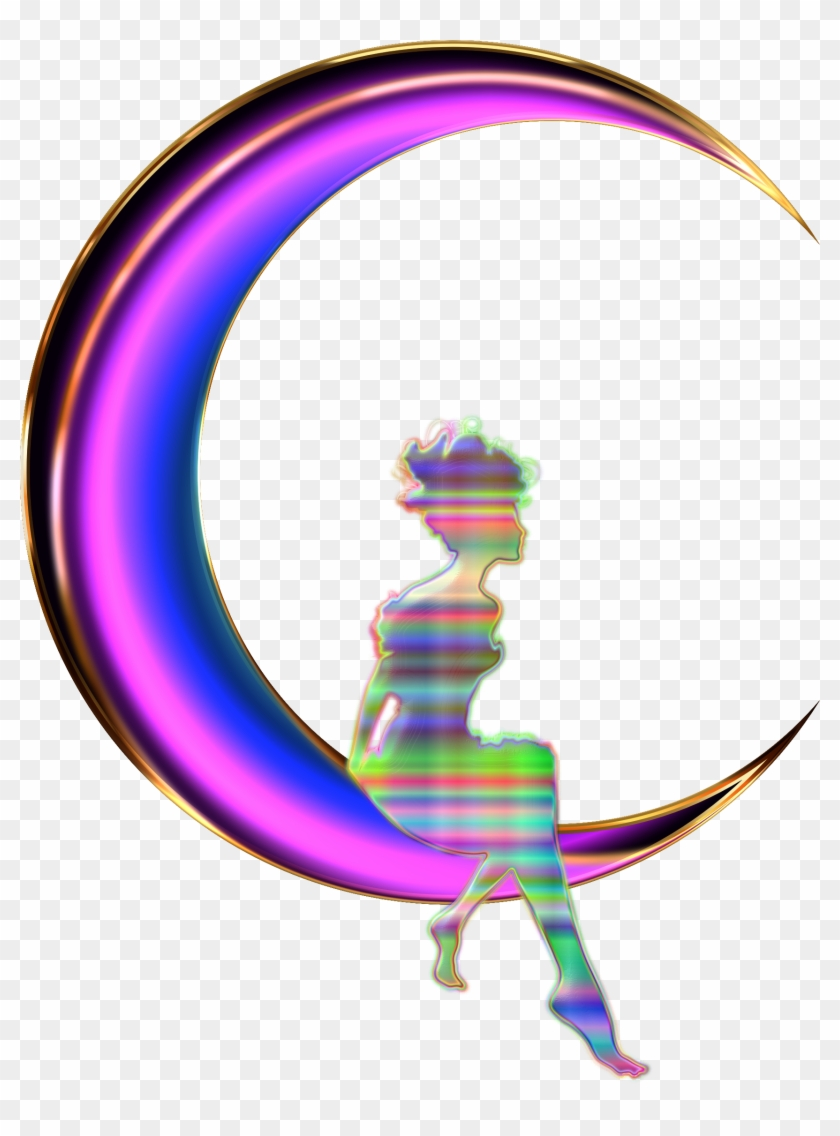 Clipart - Girl Sitting On Crescent Moon #20977