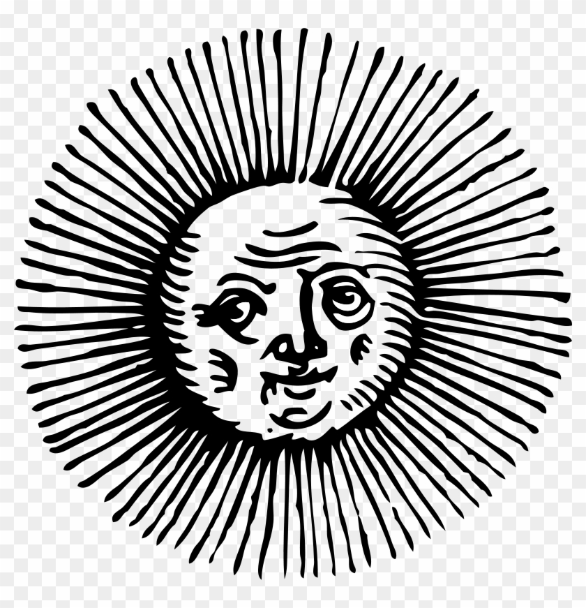 Sun Clipart Black And White - Vintage Sun Vector Png #20992
