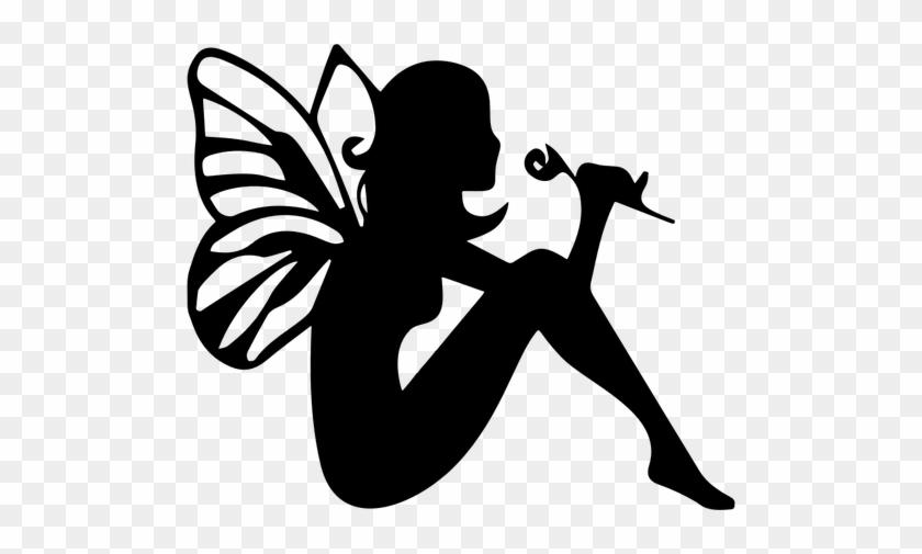 Fairy Smelling Flower Silhouette Public Domain Vectors - Fairies Clipart Black And White #21076