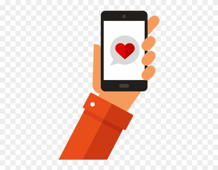 Smart-phone Mobile With Heart - Smart Phone Illustration #21077