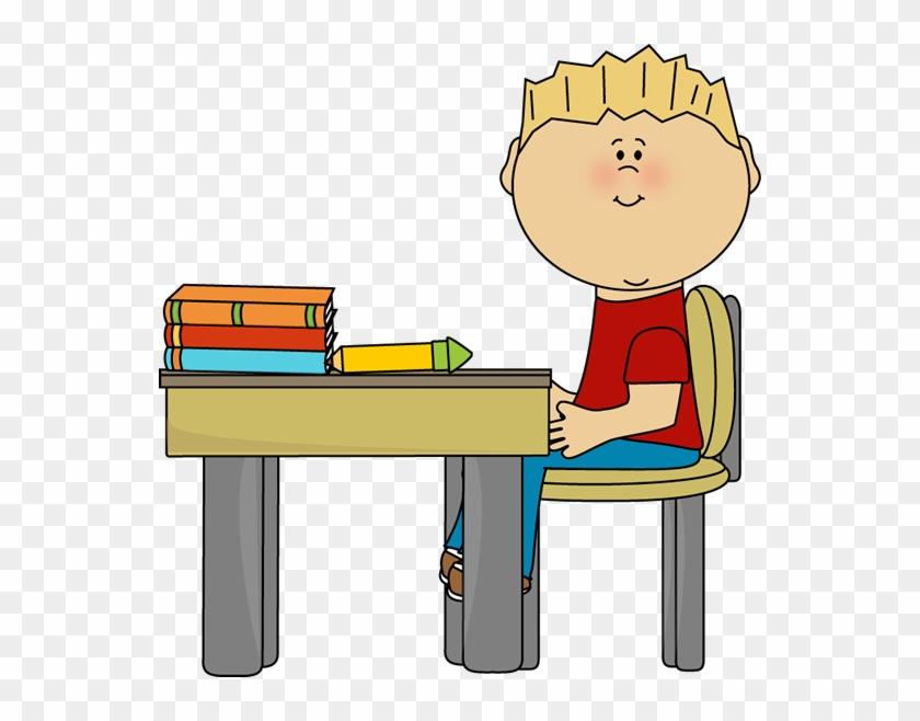 Little Boy At School Desk - Student Working Clip Art #21163