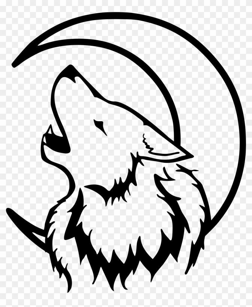Clipart - Black And White Wolf #21175