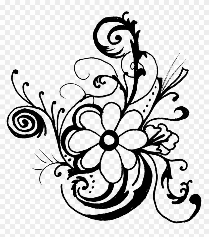 Black And White Clip Art Flowers Pictures Image - Black And White Flower Clipart #21216