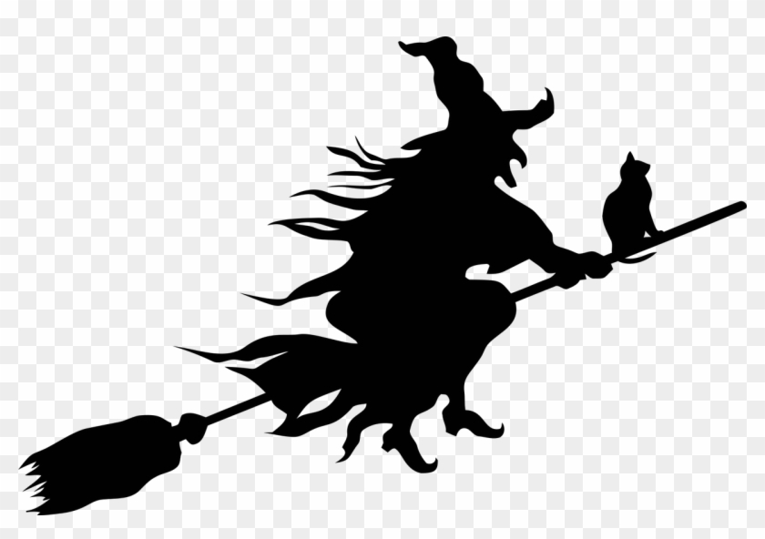 Hexe - Witch Flying On A Broom Silhouette #21226