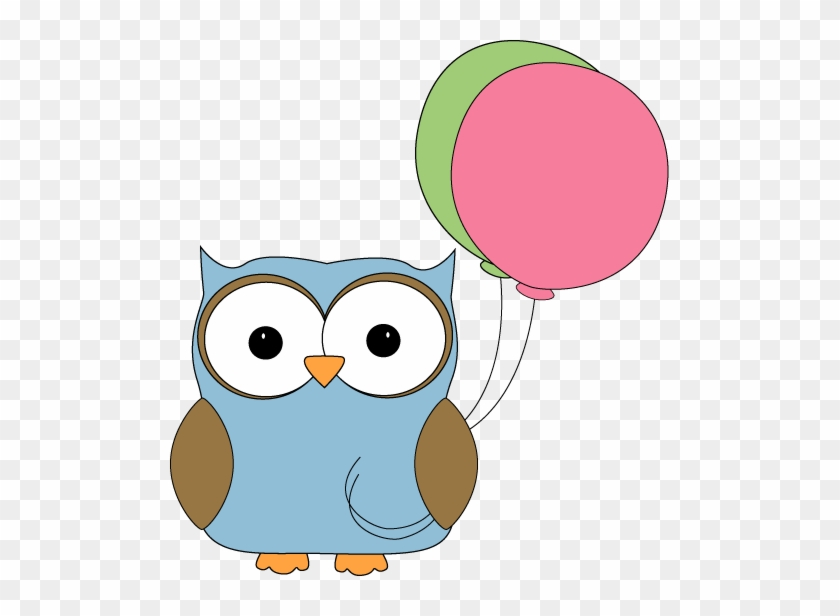 Owl With Balloons - Owl With Balloon Clipart #21377