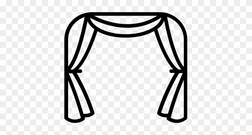 Readymade Curtains - Black And White Curtain Clipart Png #21598