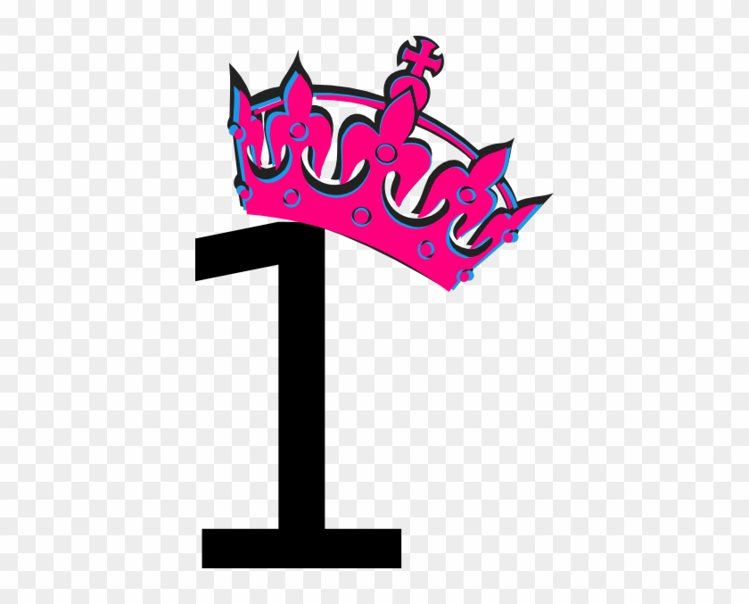 Pink Tilted Tiara And Number 1 Clip Art - Number 1 With Pink Crown #21678