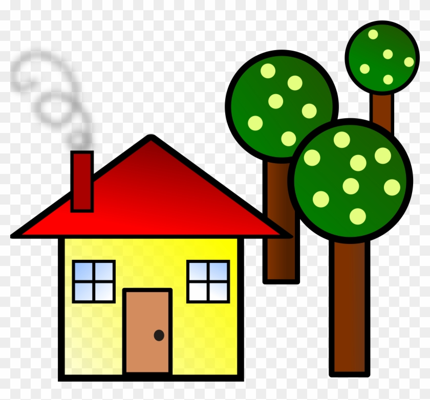 Clipart Smart Ideas Simple House Clipart With Trees - Trees And A House #21742