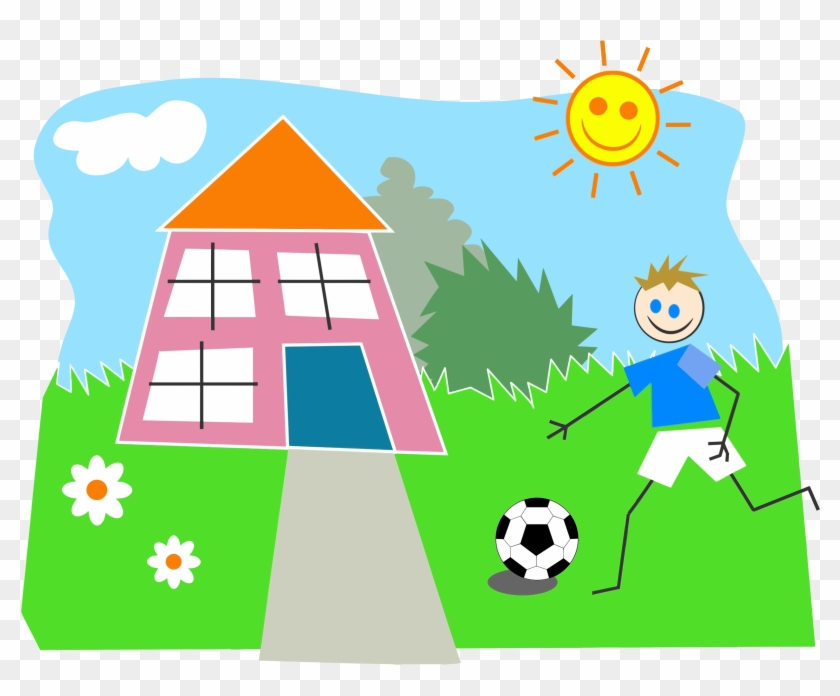 Big Image - Boy Playing Outside Clipart #21813