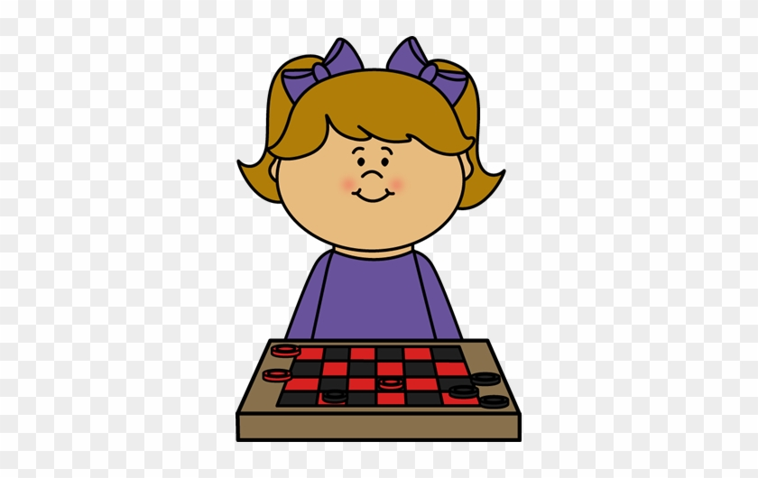 Girl Playing Checkers Clip Art - Girl Playing Games Clipart #21977