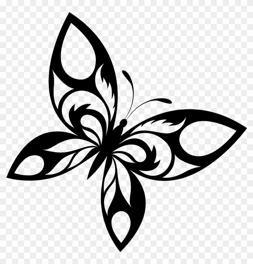 Tattoo Butterfly Png Image - Butterfly Black And White #22030
