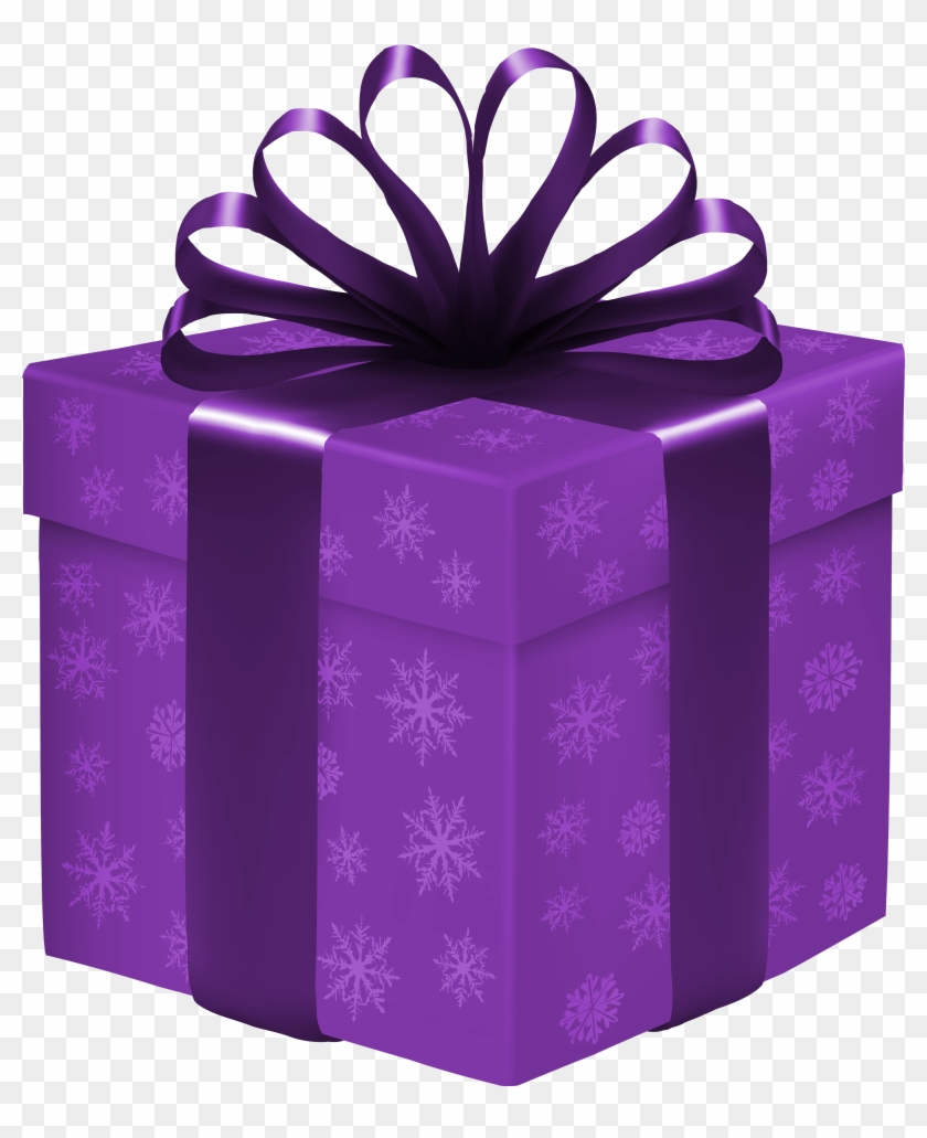 Purple Gift Box With Snowflakes Png Clipart - Purple And Blue Gift Bo #22215