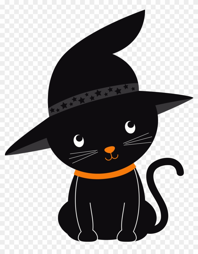 Black Cat Halloween Kitten Clip Art - Black Cat Halloween Kitten Clip Art #22327