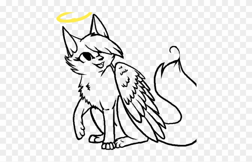 Cat Kitten Line Art Angel Clip Art - Cat Kitten Line Art Angel Clip Art #22350