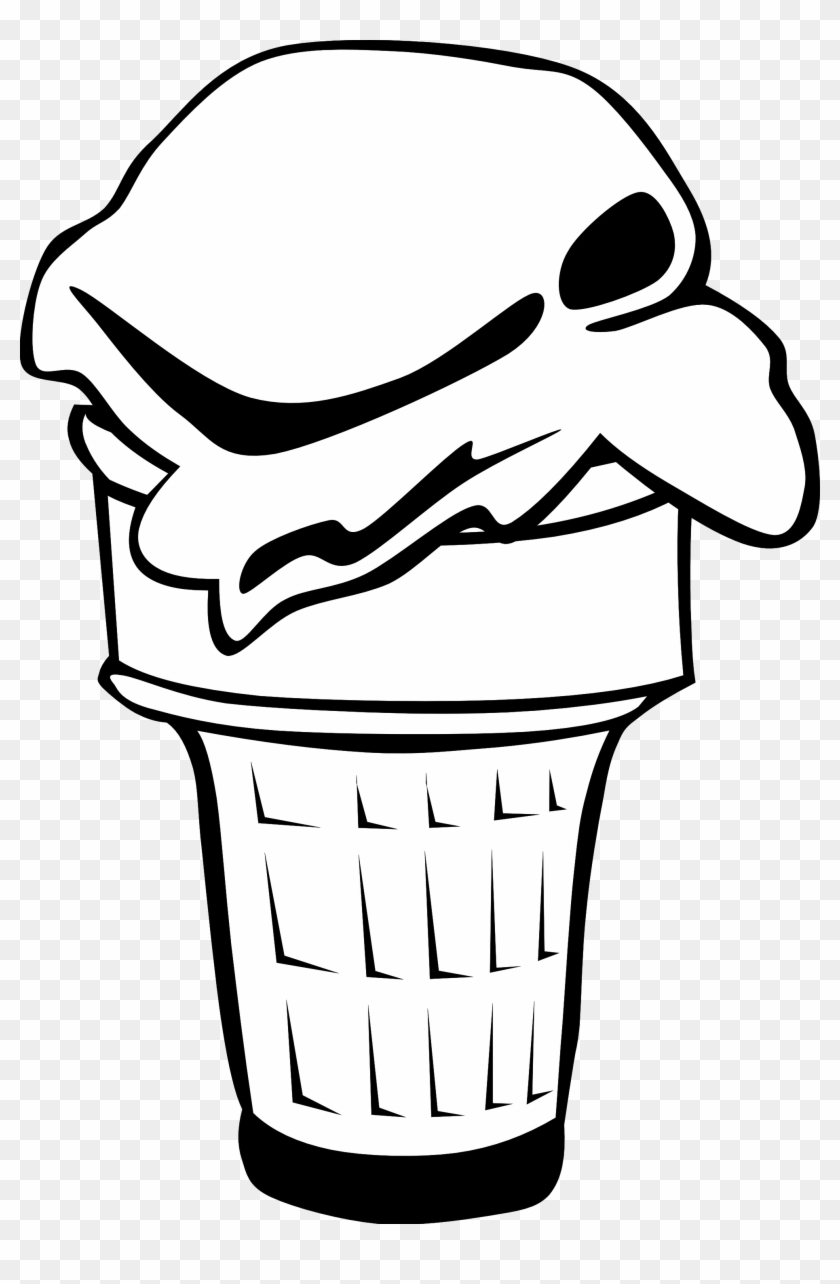 Black And White Ice Cream Cone Clipart - Ice Cream Cone Clip Art #22386
