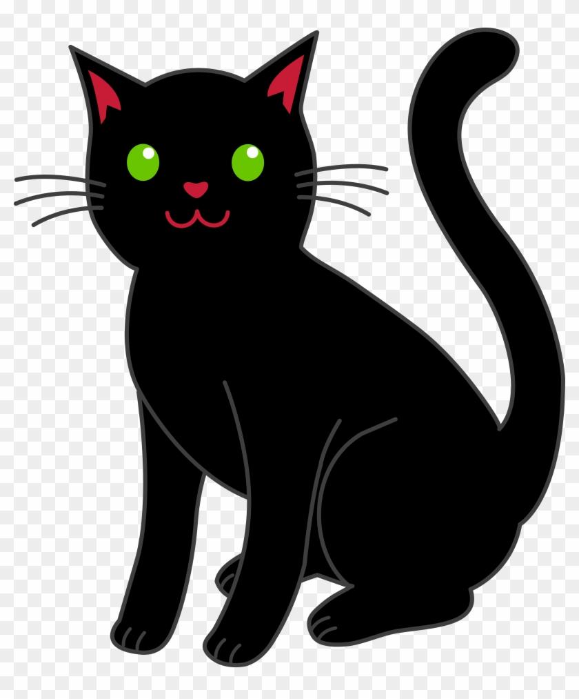 Simple Black Halloween Cat - Clip Art Black Cat #22464