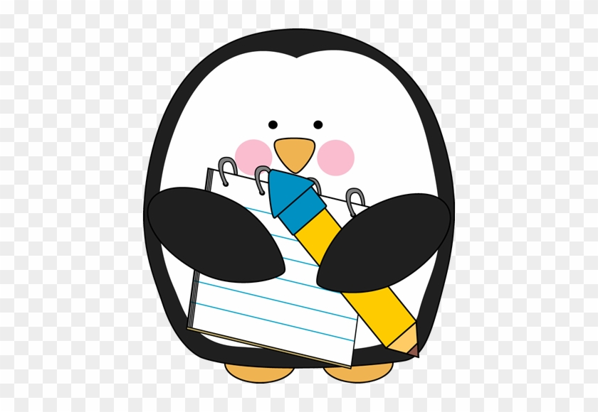 Penguin With A Notepad And Pencil - Visualizing For Reading Graphic Organizer #22506