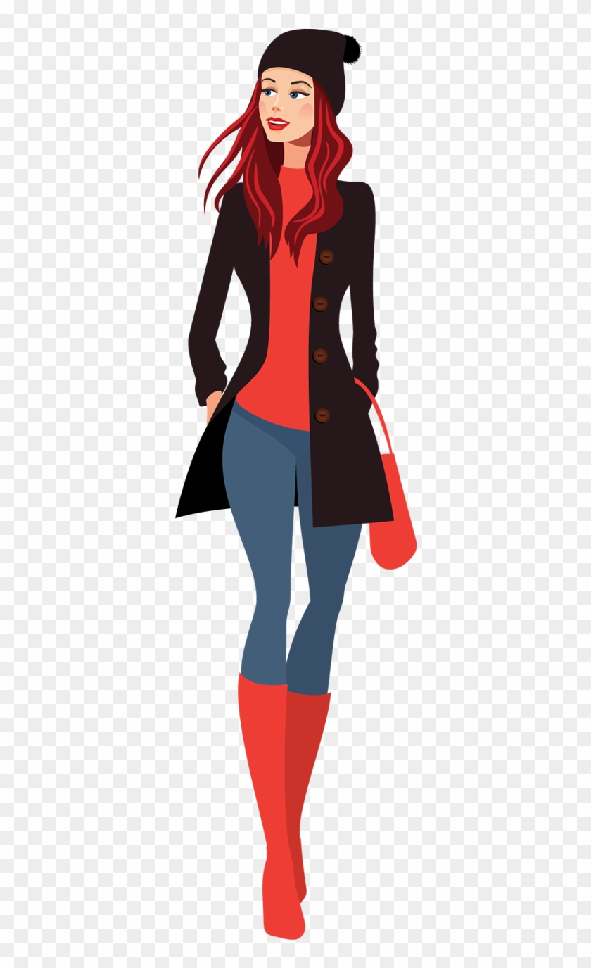 Fashion Clipart Going Shopping - Pretty Girl Cartoon Png #22659