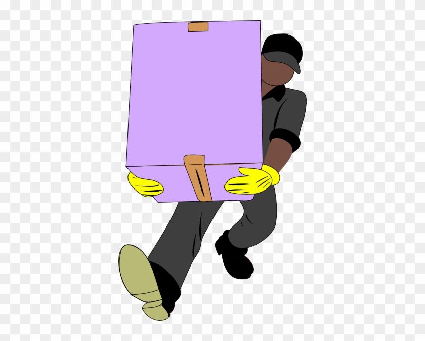 Black Man Carrying Box Clip Art At Clker - Man Carrying Box Clipart #22768