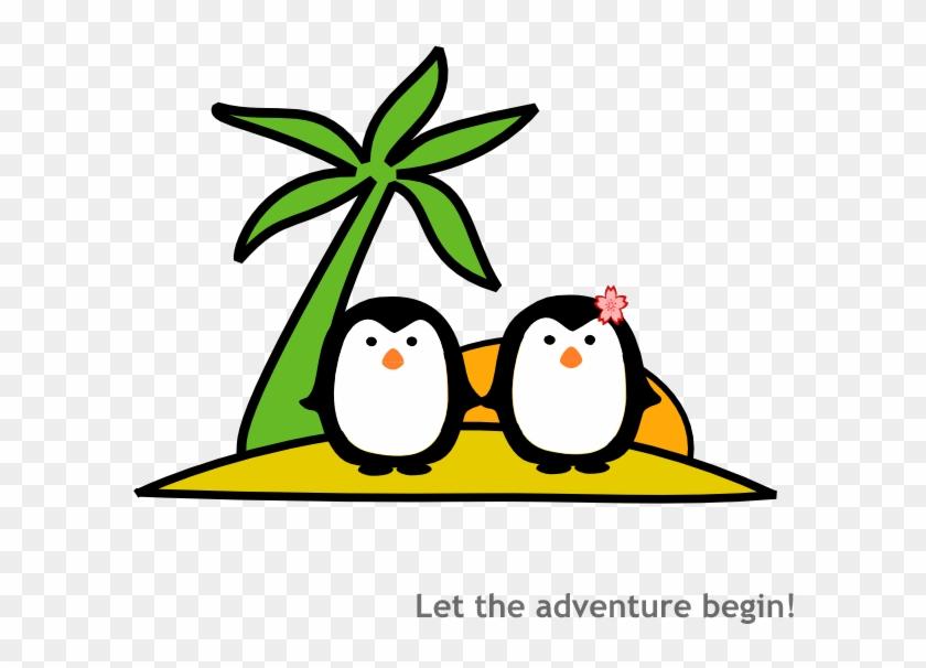 Two Penguins At Beach Clip Art - Penguins On The Beach Cartoon #22922