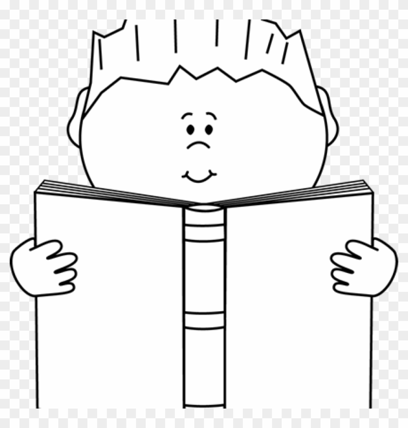 Reading Clipart Black And White Reading A Book Clip - Clip Art #22957