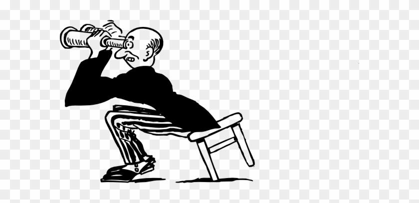 Free Vector Man Using Binoculars Clip Art - Guy With Binoculars Cartoon #22993