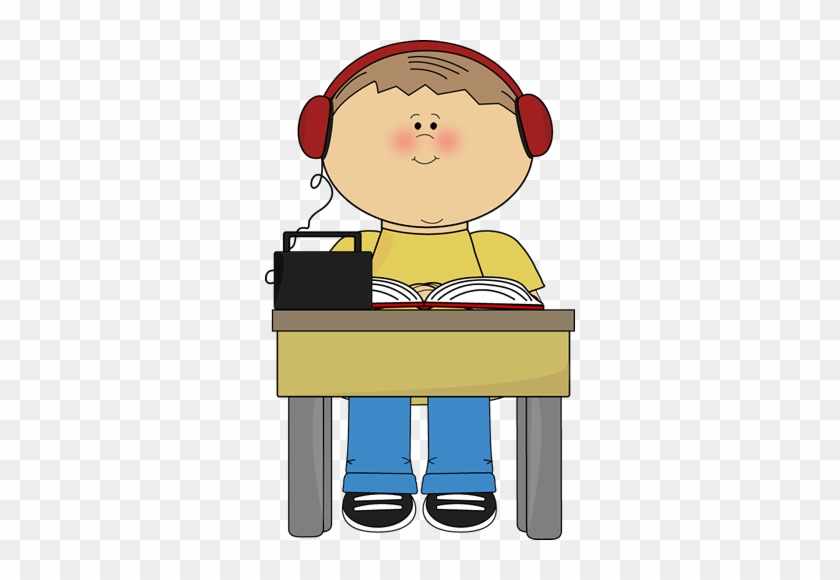 Boy Reading And Listening To Book - Child In Chair Clip Art #23040