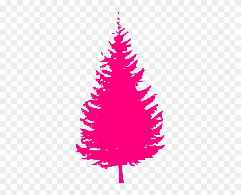 Pink Tree Clip Art - Pine Tree Silhouette Vector #23044