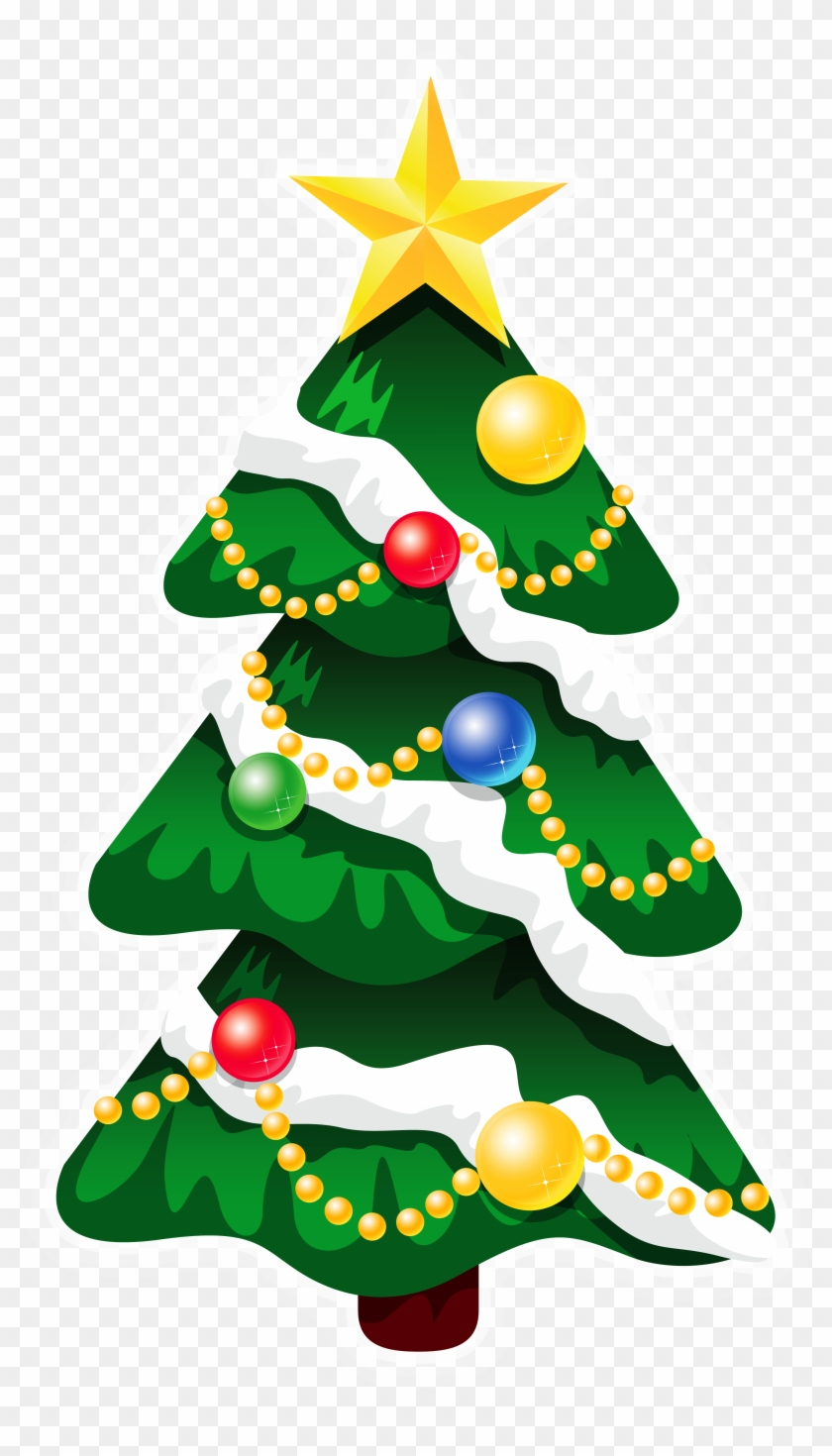 Transparent Snowy Deco Xmas Tree With Star Png Clipart - Christmas Icons #23189