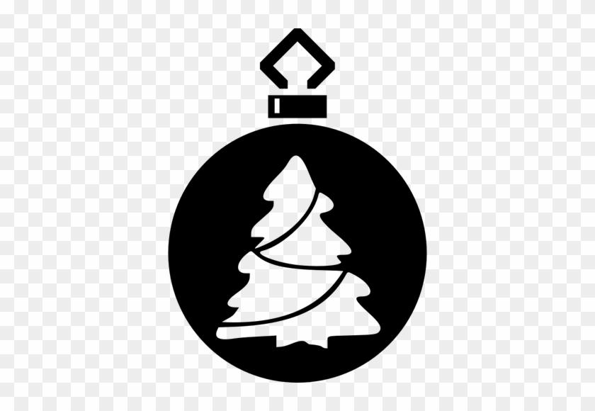 20930 Christmas Ornament Clip Art Black White Public - Bauble Silhouette #23253