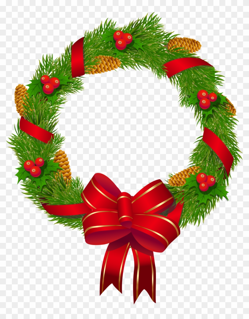Christmas Pine Wreath With Red Bow Png Clipart Image - Christmas .png #23259