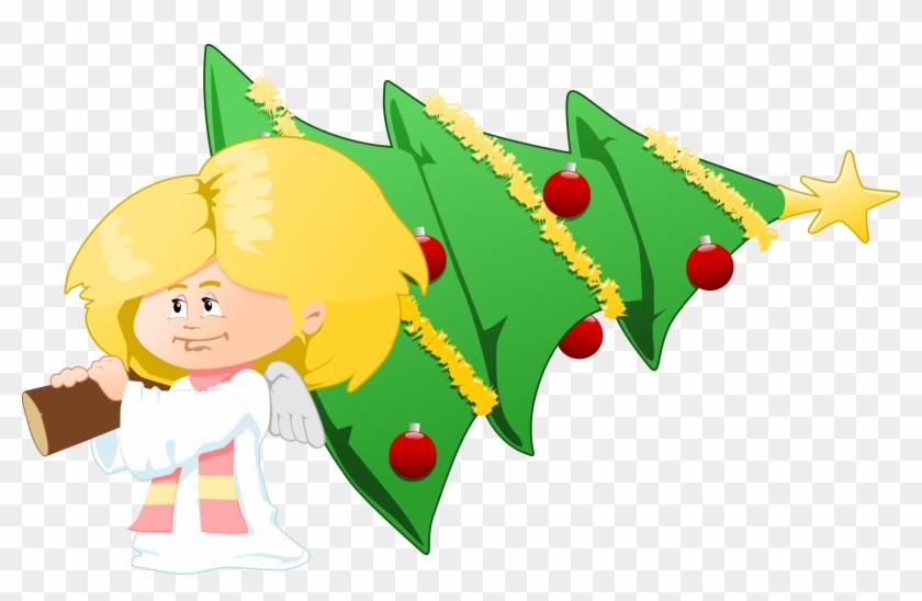 Big Image - Angel With Christmas Tree #23273
